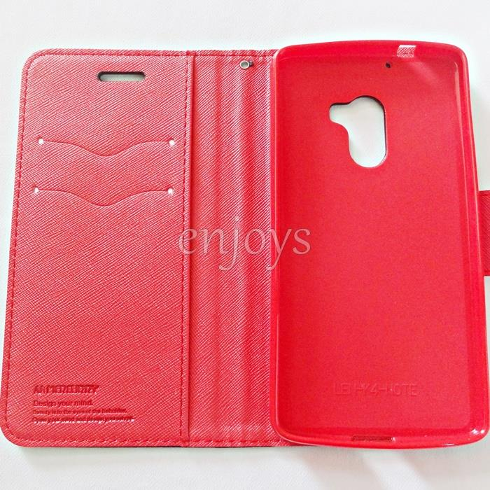 MERCURY Fancy Diary Case Cover Lenovo Vibe K4 Note /A7010 ~BLACK/RED