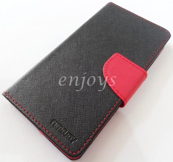 MERCURY Fancy Diary Case Cover Samsung Galaxy S5 /G900F ~BLACK /RED