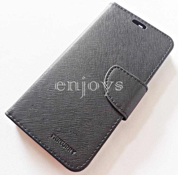 MERCURY Fancy Diary Case Cover Samsung Galaxy S6 Edge G925F BLACK *XPD