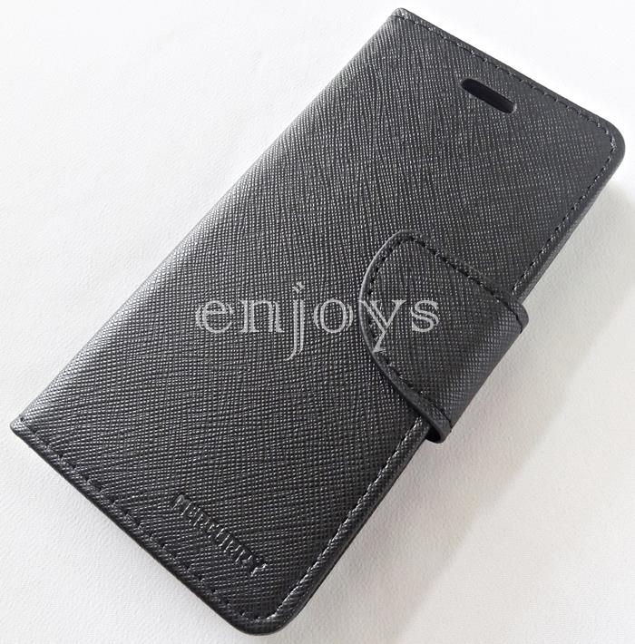 MERCURY Fancy Diary Case Flip Cover Apple iPhone 7 (4.7) ~BLACK *XPD