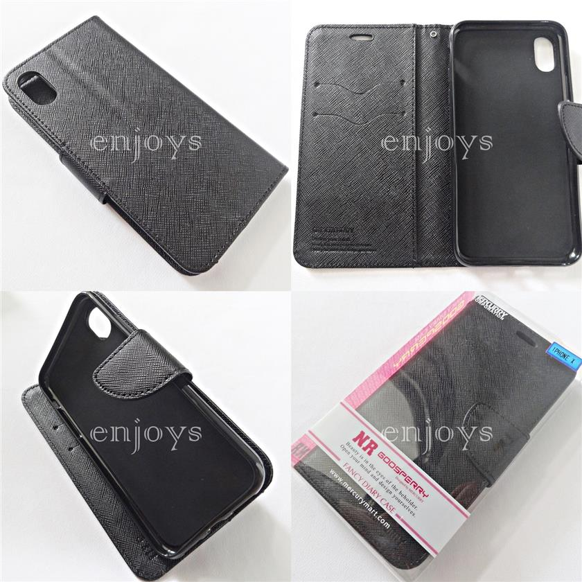 MERCURY Fancy Diary Case Flip Cover Apple iPhone X XS (5.8) ~BLACK