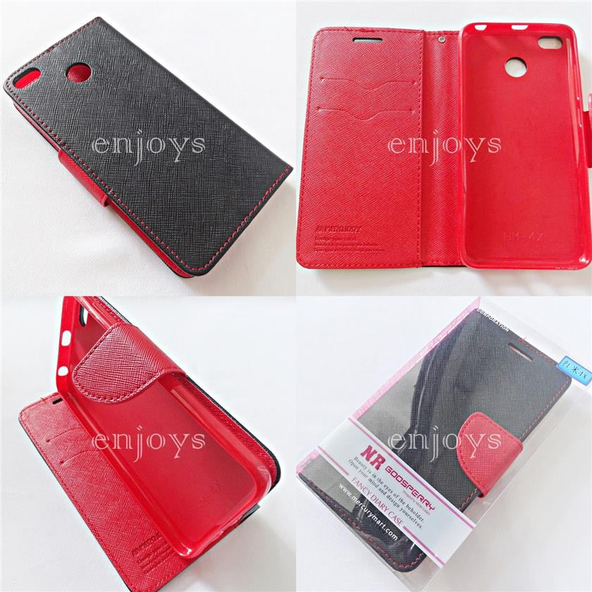 MERCURY Fancy Diary Case Flip Cover Xiaomi Redmi 4X (5.0) ~BK/RED *XPD