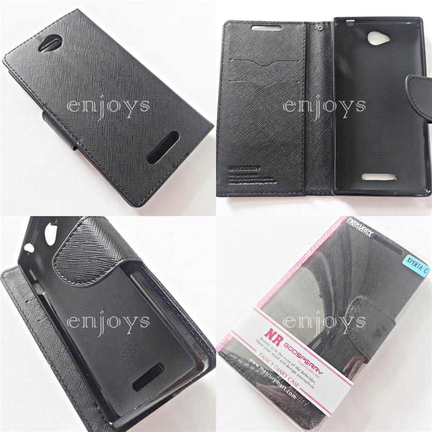 MERCURY Fancy Diary Case Pouch Sony Xperia C / C2305 S39h ~BLACK *XPD