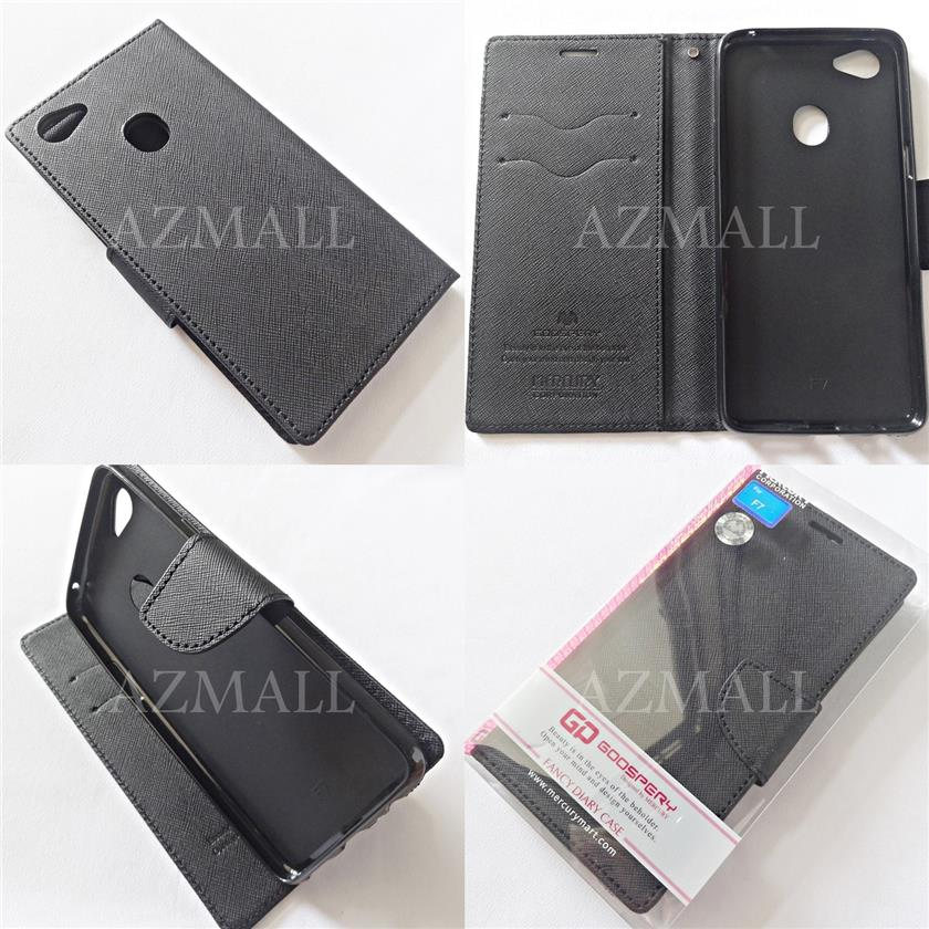 new product 231e6 88f19 MERCURY Fancy Diary Stand Case Flip Cover Oppo F7 / F7 Youth ~BLACK