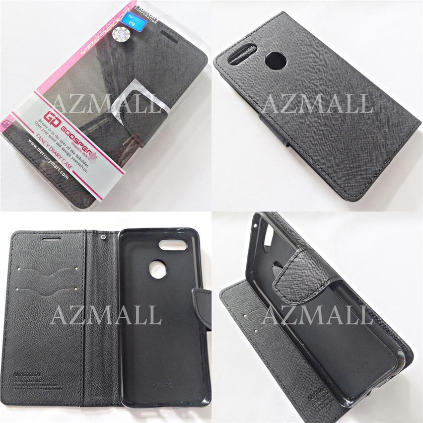 "MERCURY Fancy Diary Stand Case Flip Cover Oppo F9 (6.3"") ~ALL BLACK"