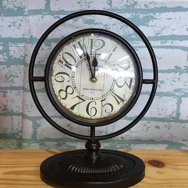 Metail Made Table Clock Vintage Copper Round Clock Home Decoration