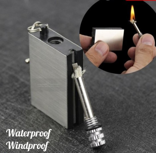 Metal Box Lighter Waterproof Windproof Permanent Instant Matching Survival Cam