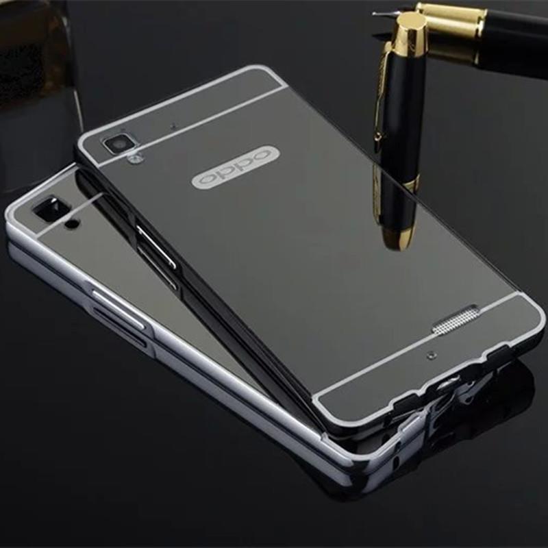 meet a772b c0c0b Metal Mirror Bumper Case Oppo A35 A37 R1206 R9 FOC Tempered Glass