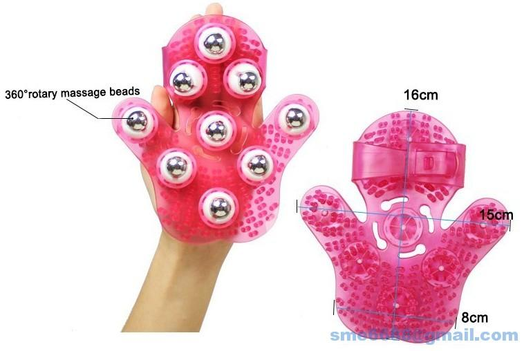 *Metal Rolling Balls 360^degree Body Skin Manual Hand Massager Glove
