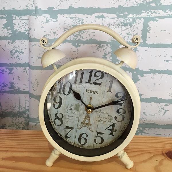 Metal Made Table Clock Vintage Round Shape Eiffel Tower Design