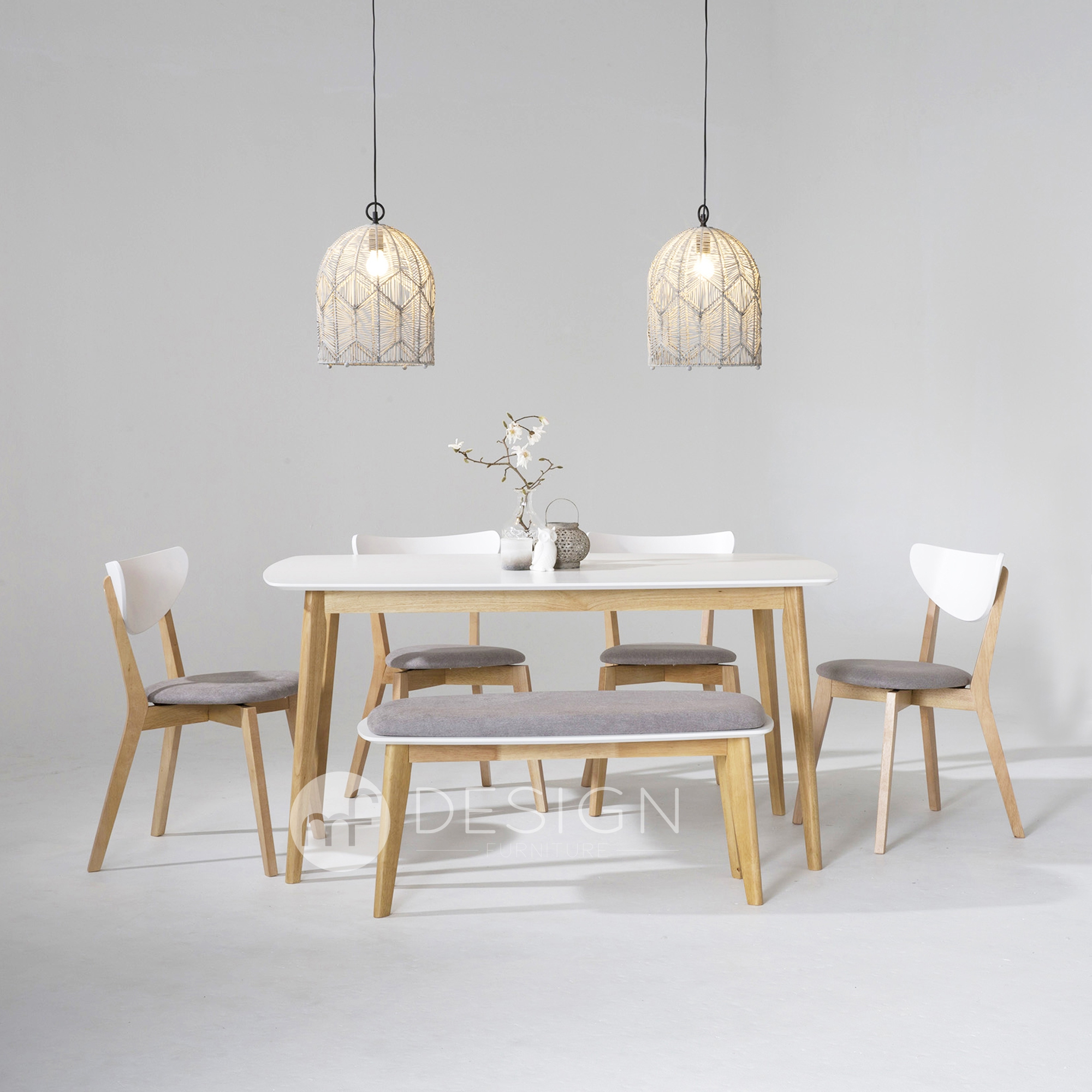 Mf Design Estonia Natural Wood Table 4 Chairs 1 Bench Chair Dining Set