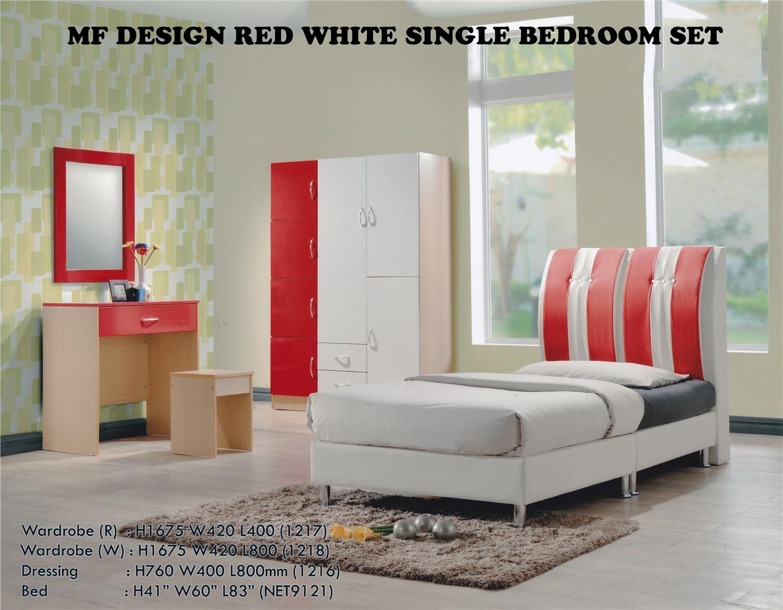 Mf Design Red White Single Bedroom Set Bilik Tidur