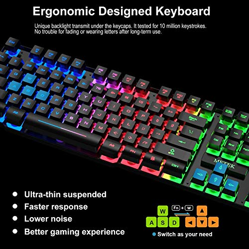 ~ MFTEK Gaming Keyboard and Mouse Combo with Large Mouse Pad, RGB Rainbow Back