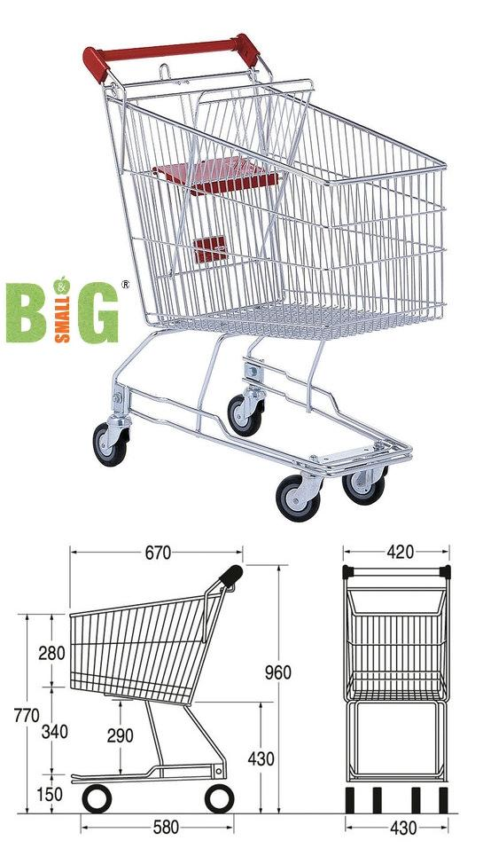 MHE Trolley Shopping Supermarket 60 Litre Standard Wire Base ST SDW60