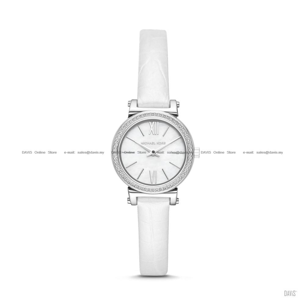 MICHAEL KORS MK2714 Women's Sofie 2-hand Glitz Leather Strap White