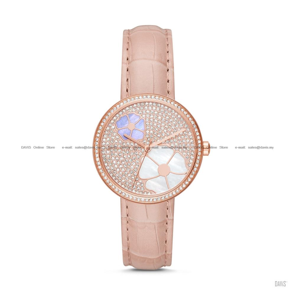 MICHAEL KORS MK2718 Women's Courtney 3-hand Floral Leather Strap Blush
