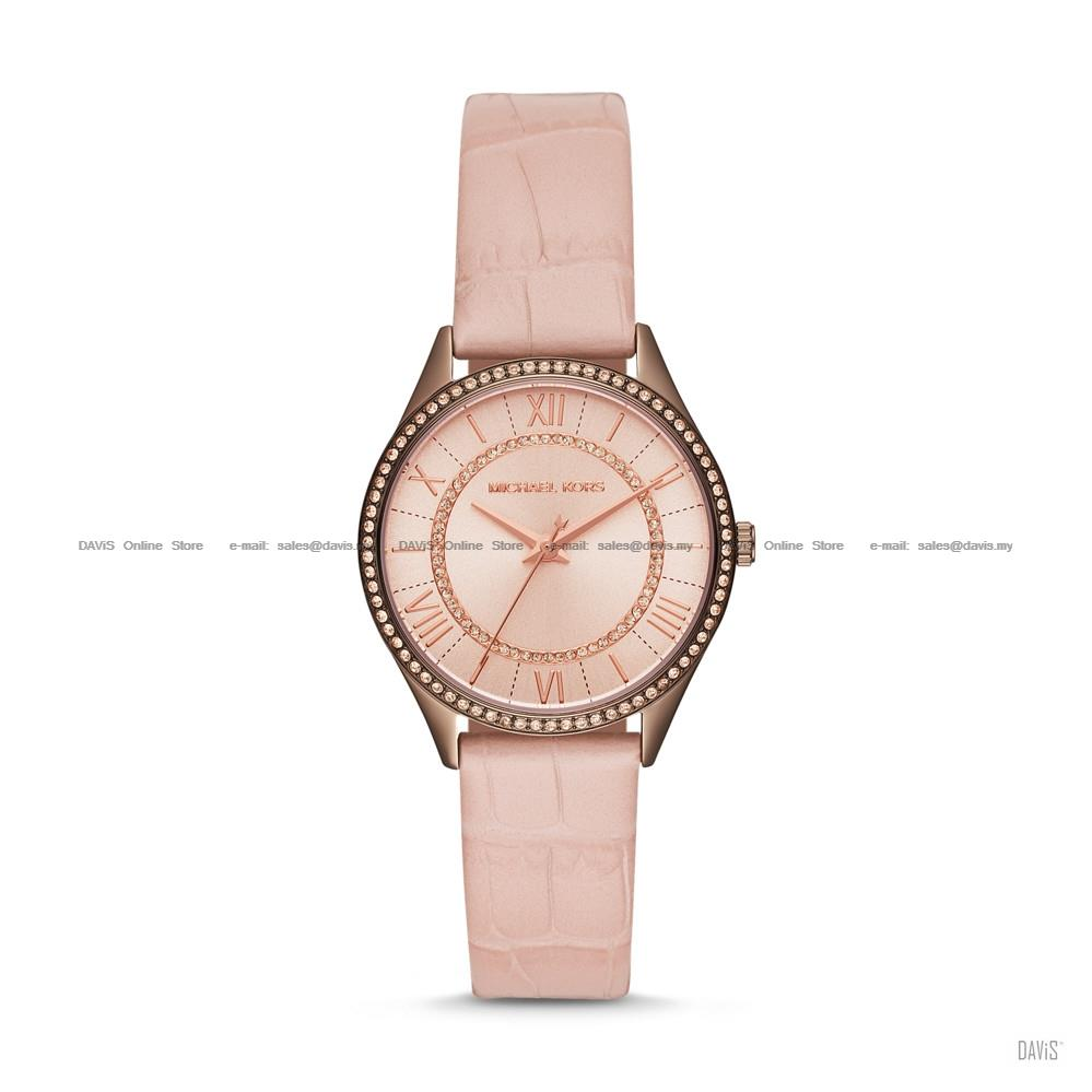MICHAEL KORS MK2722 Women's Lauryn 3-hand Glitz Leather Strap Blush