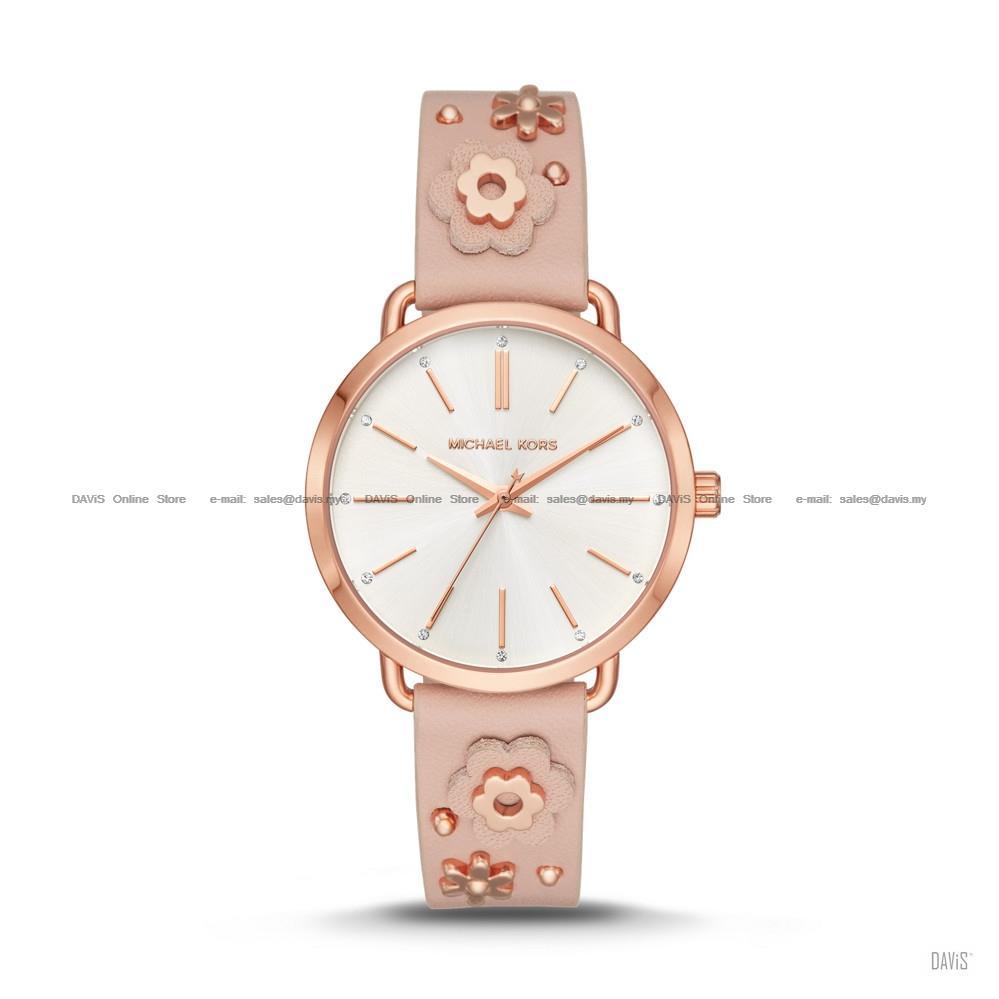 ac7d20f67 MICHAEL KORS MK2738 Women's Portia Floral Applique Leather Rose Gold. ‹ ›
