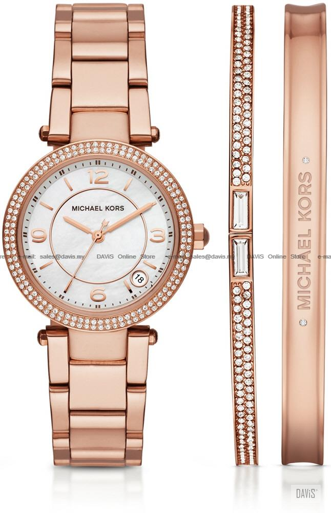 Michael Kors Mk3506 Delray Watch Jewelry Box Set Bracelet Rose Gold