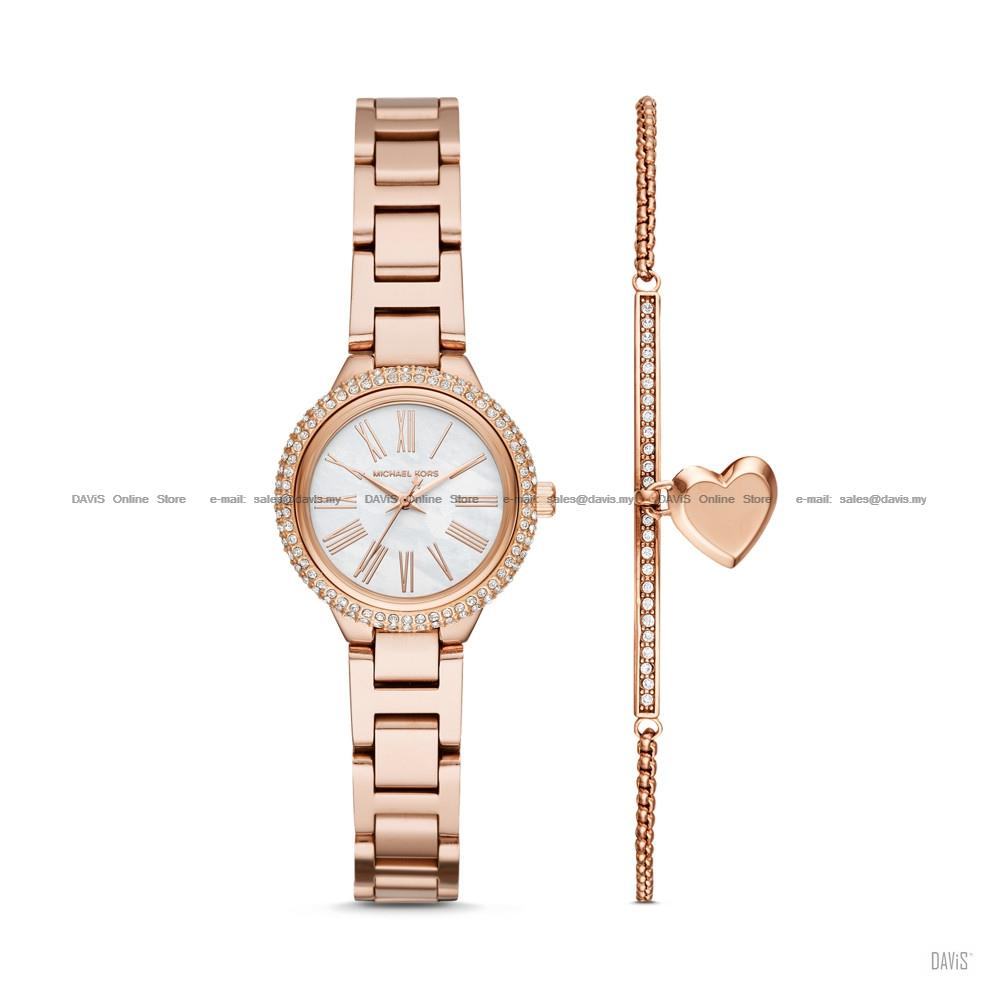 MICHAEL KORS MK3858 Taryn Bracelet Watch & Jewelry Box Set Rose Gold