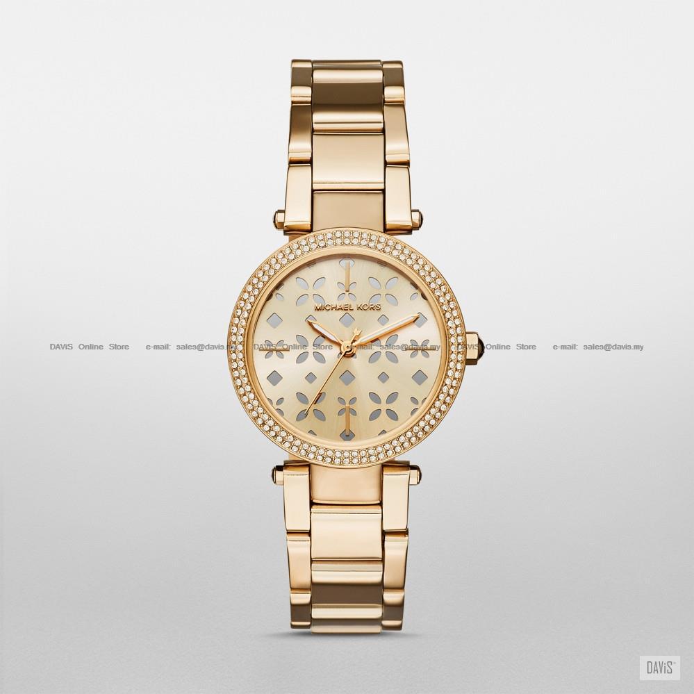 6debe843412a MICHAEL KORS MK6469 Parker Floral Cutout Glitz SS Bracelet Gold. ‹ ›