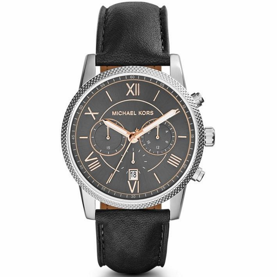 Michael Kors MK8393 Men's Hawthorne Silver-Tone Leather Watch