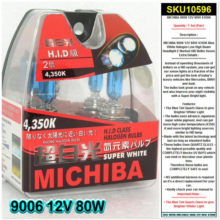 MICHIBA 9006 12V 80W 4350K Blue White Halogen Low High HID Headlight