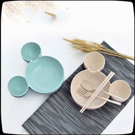 Mickey Wheat Straw Plate For Children Tableware