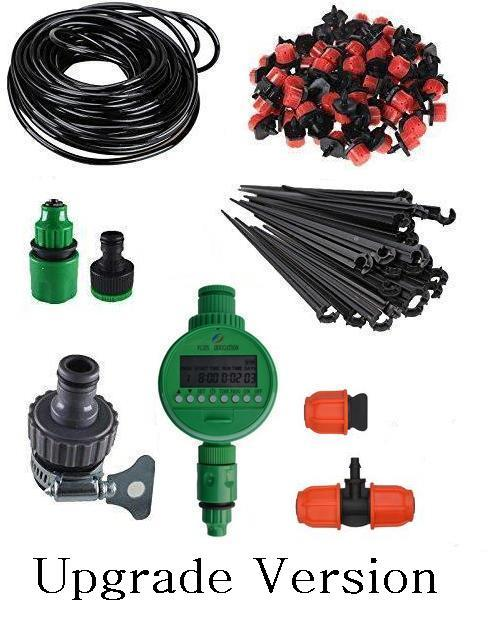 Micro Drip Irrigation System Plant Self Watering Garden Hose Kit Timer