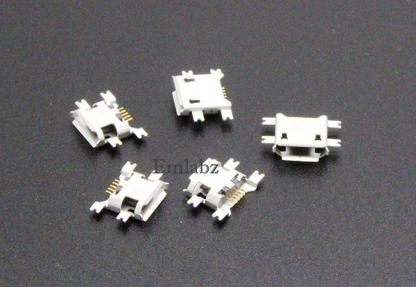 Micro USB Type B Female 5Pin Socket 4 Legs SMT SMD Soldering Connector