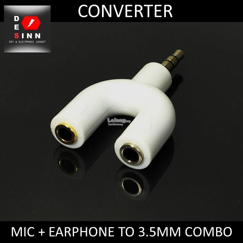 Microphone Earphone to 3.5mm Combo Port Adapter Converter