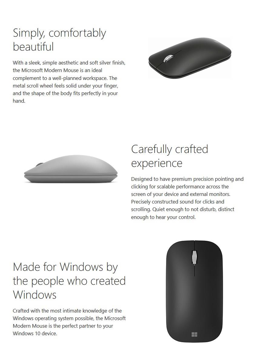 MICROSOFT MODERN MOBILE BLUETOOTH SLIM MOUSE KTF-00005 BLACK