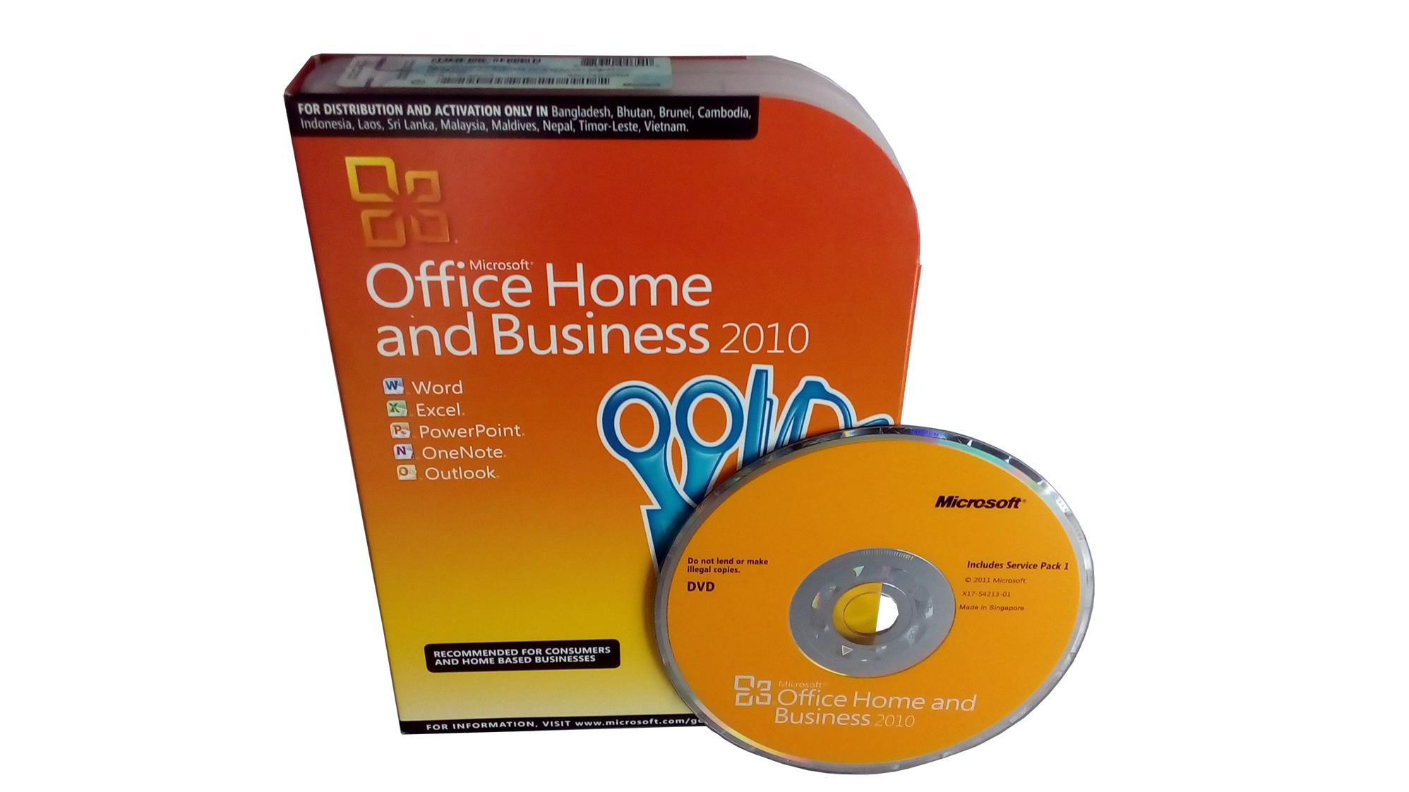 microsoft office 2010 home and business retail box with cdcoa sticker