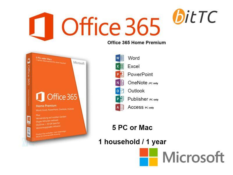 MICROSOFT OFFICE 365 HOME (5 USERS (end 10/15/2018 12:15 AM)