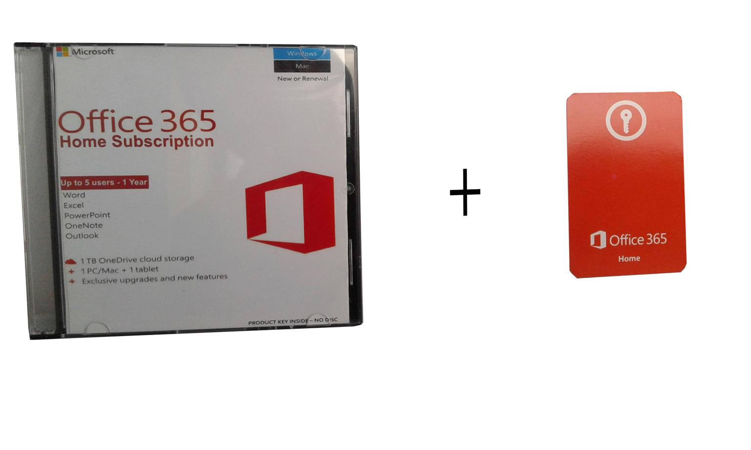 microsoft office 365 home subscription key card installation cd