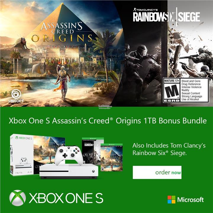 microsoft xbox one s 1000gb 1tb ac origin rainbow siege bundle