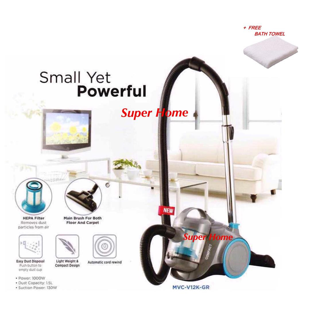 Midea MVC-V12K Bagless Vacuum Cleaner with HEPA Filter(1000W) + TOWEL