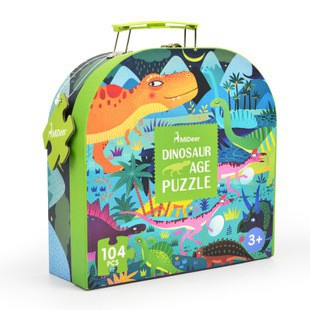 Mideer 104P dinasour puzzle with carrying box