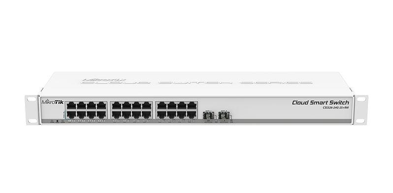 Mikrotik 24-port GigE + 2 SFP+ Cloud Router Switch (CSS326-24G-2S+RM)