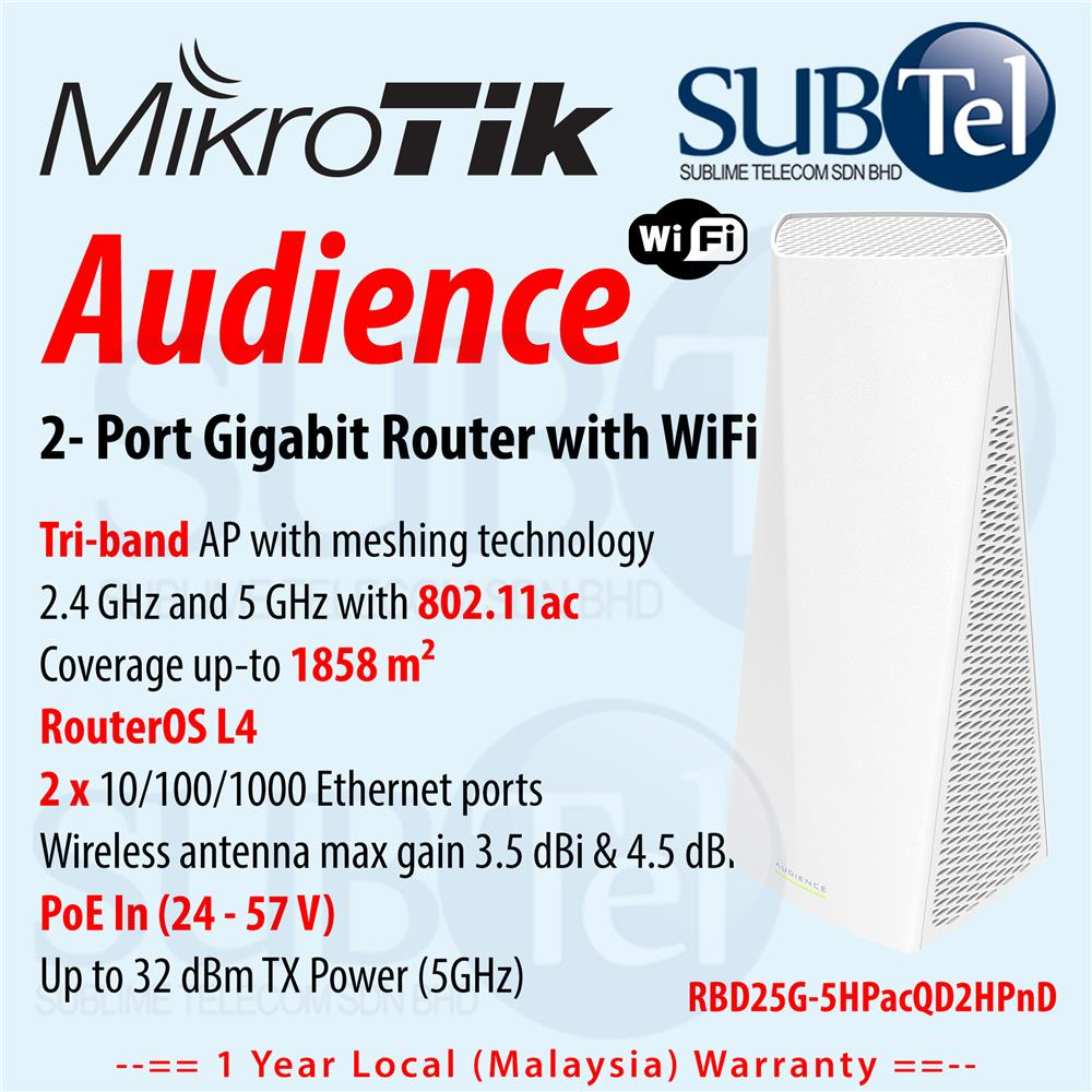 Mikrotik Audience - Gigabit WiFi Mesh Router RBD25G-5HPacQD2HPnD AP