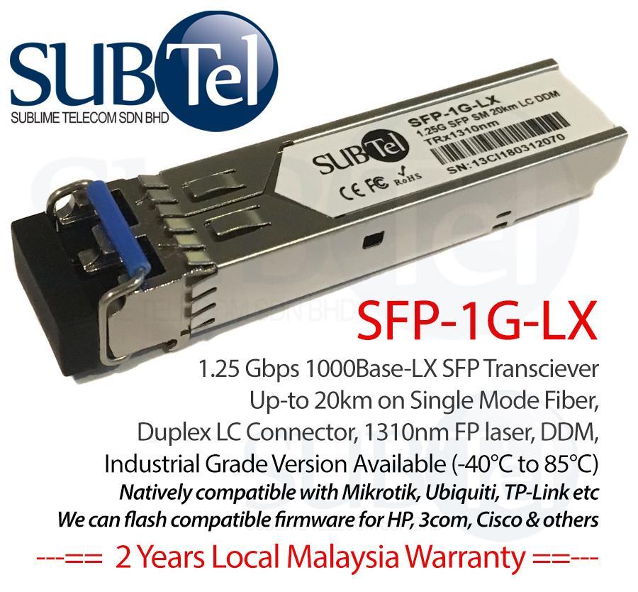 Mikrotik S-31DLC20D equivalent SFP Transceiver SMF 1 25G Routerboard