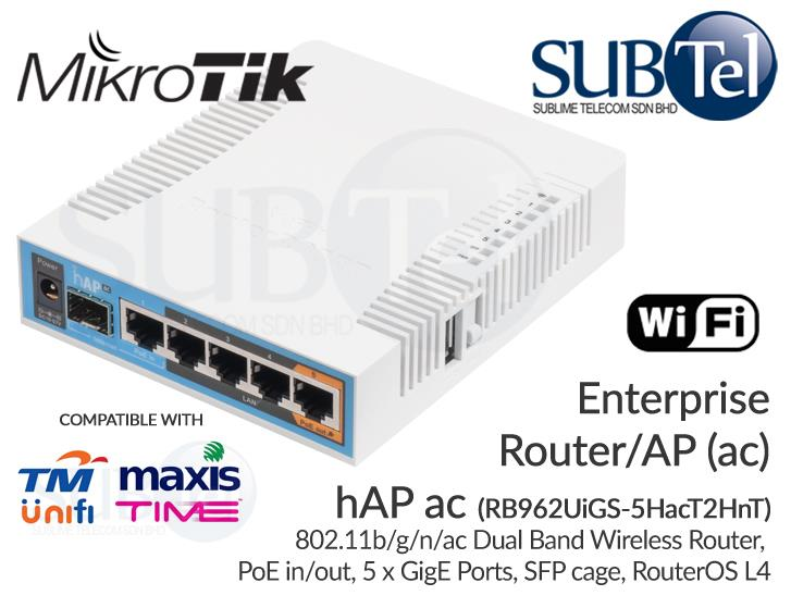 Mikrotik WiFi SFP Router hAP ac RB962UiGS-5HacT2HnT Malaysia