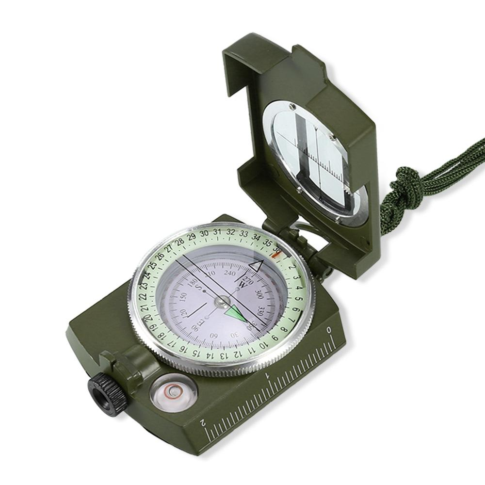 Military Lensatic Sighting Compass with Foldable Metal Lid