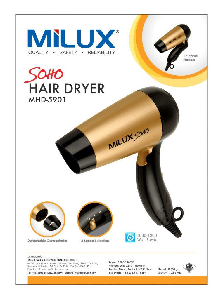 Milux Soho Hair Dryer MHD-5901 - 1 year Warranty (Free Mystery Gift)