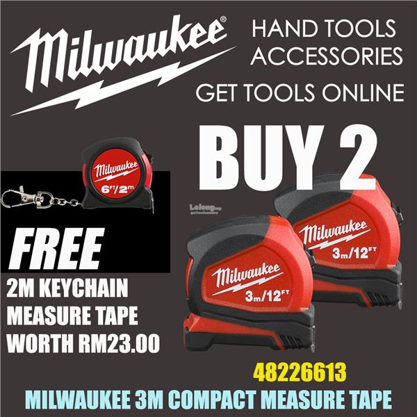 Milwaukee 3M Compact Measure Tape x 2units 48226613