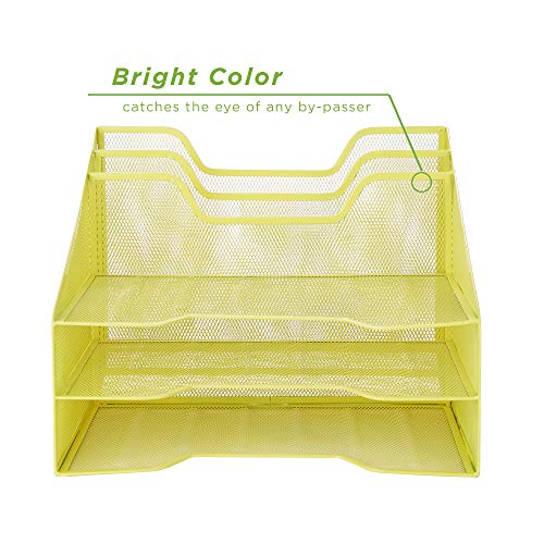 Mind Reader MESHBOX5-YLW Mesh Organizer 5 Desktop Document Letter Tray for Fol