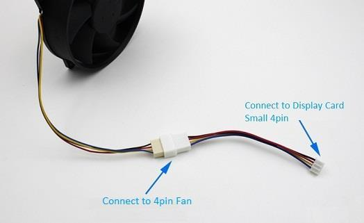 Mini 4 pin Female to Standard 4Pin Male PWM Cooling Cooler Fan Cable