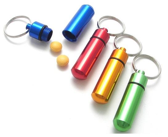 Mini Alumnium Pill Box Holder Keychain (2pcs)