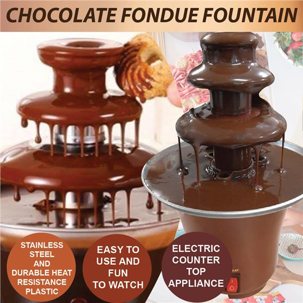Mini Elegant Chocolate Lovers Fondue Fountain 3-Tier Household Machine