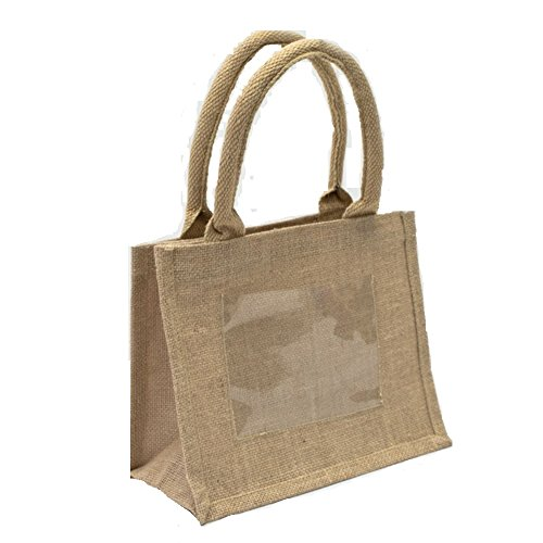 Mini Jute Gift Tote Bags w/Clear Pocket for Wedding Favors, Crafts, Decoration